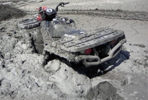 Quad stuck in the mud